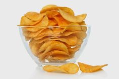 Bowl Potato Chips On White Background Stock Photo (Edit Now) 211581541 Great Recipes, Snack Recipes, Low Carb Chips, Gourmet Salt, Healthy Snacks, Healthy Recipes, Banana Chips, Le Chef, Savoury Dishes