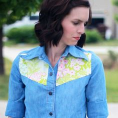 Transform a simple button down shirt with a floral yoke! I would probably do lace...