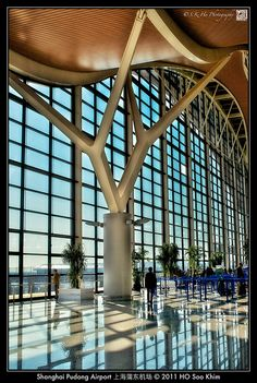 Shanghai 上海 - Shanghai Pudong Airport 上海浦东机场 by SKHO Facade Architecture, Amazing Architecture, Contemporary Architecture, Shanghai, Tree Structure, Airport Design, Space Frame, Skyscraper, Pergola