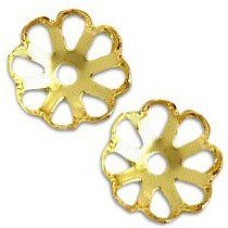 "Amazon.com: Luxury & Custom {10mm} of Approx 50 Individual Loose Medium Size Filigree ""Scallop"" Beads Made of Genuine Brass w/ Polished Metallic Plated Elegant Flower Cup Cut-out Cap Design {Gold}: mySimple Products: Arts, Crafts & Sewing"