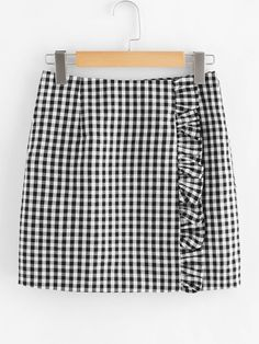 Casual Straight Gingham Mid Waist Black and White Above Knee/Short Length Zip Back Ruffle Trim Gingham Skirt - Young Casual Pencil Gingham Sheath Mid Waist Black and White Above Knee/Short Length Zip Back Ruffle Trim Gingham Skirt Source by madelynnroy - Skirt Outfits, Cute Outfits, Gingham Skirt, Cute Skirts, Ruffle Trim, Diy Clothes, Mantel, Tartan, Dame