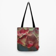Vintage hydrangea Tote Bag  #totebag #society6 #maryberg #textile #summerflowers #hydrangea  #womendesign #red #blue #emerald  #purple