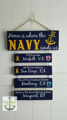 Home is where the Navy sends us Navy Sign Patriotic Wall Military Home Decor, Military Decorations, Go Navy, Navy Mom, Us Navy Party, Navy Military Weddings, Deployment Party, Military Shadow Box, Welcome Home Signs