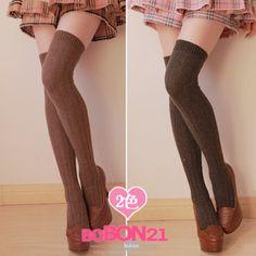 BOBON21冬季新款 原单经典百搭显瘦羊毛过膝袜高筒袜大腿袜AC0722-淘宝网