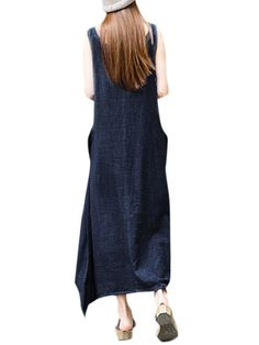 Vintage Women Sleeveless O Neck Pockets High Low Pure Color Maxi Dress Shopping Online - NewChic