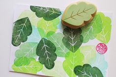 leaf rubber stamp. hand carved rubber stamp. hand by talktothesun, $10.00