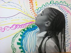 Exploring line. Children choose a line and repeat it. The children's whistling photos are glued to the drawings. This is what whistles look like! The Crayon Lab: Whistle While You Walk