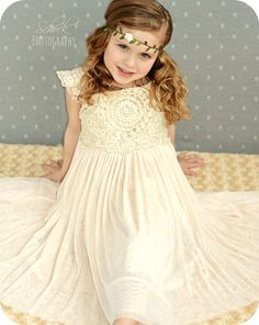 This crochet lace dress is just adorable. Great quality and so versatile! Perfect for a flower girl dress or the family photos!                                                                                                                                                                                 More