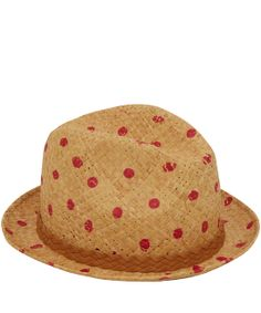 Paul Smith Pink Dot Straw Trilby Hat