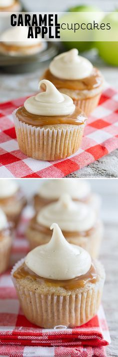 Spiced cupcakes are filled with fresh apples and then topped with caramel sauce and a thick caramel icing in these Caramel Apple Cupcakes that are perfect for fall.