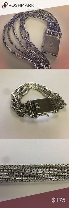 """silpada byzantine multi strand bracelet retired retired, can be found in the 2013 catalog. silpada go gorgeous bracelet. well made and heavy, great condition. clasp is in excellent working condition and is very sturdy. 7 3/4"""" X 3/4 Jewelry Bracelets"""