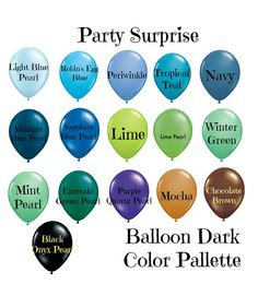Balloons 11 blue navy green black pearl teal by PartySurprise