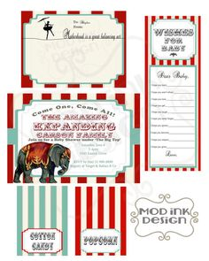 Vintage Circus Baby Shower Party Pack by ModInkDesign on Etsy, $25.00 #vintagecircus #partyprintable