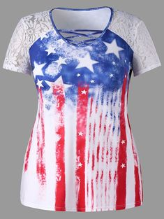 9dd43510b52 Plus Size Lace Panel American Flag Tee - COLORMIX 4XL Cheap T Shirts