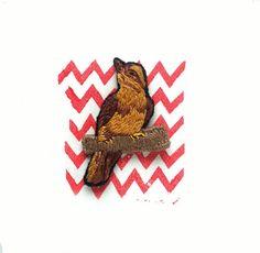 Twin Peaks pin | Twin Peaks fan gift | Bird brooch | 90s pin | Grunge pin | Hand embroidery | David Lynch | Agent Cooper | Audrey Horne