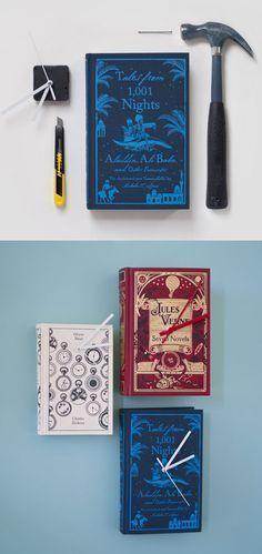 DIY book clock www.woonblog.be aqueles livros antigos cujas páginas já estão cheias de traças, mas têm capas duras lindas (quem nunca herdou de alguma tia?) viram relógios!