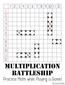 Multiplication Battleship for Math Practice from In Our Pond. Multiplication facts from 0 to 144 and 5 battleships per player. Print and play with ease. Math For Kids, Fun Math, Math College, Math Enrichment, Fourth Grade Math, Third Grade Math Games, Math Intervention, Homeschool Math, Online Homeschooling