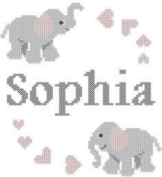 Moderna bebé cruz puntada con elefantes por oneofakindbabydesign