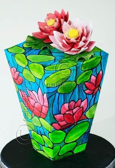 Gorgeous vividly colored stained glass-looking cake