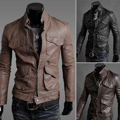 New Mens Fashion Slim Fit Zipper PU Leather Coat Jacket Size XS S M Z287 Edit item   Reserve item  €93.10 EUR
