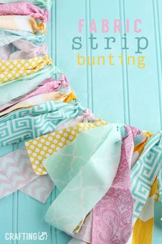 this fun & cheery Fabric Strip bunting is a great way to use up your fabric scraps along with being a great decoration for Spring!