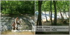 A trip to Poole's Mill Park in Forsyth County - Ball Ground, Cumming GA - Covered Bridge, Rock Slides and River