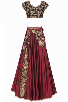 Marsala floral dabka and zardozi embroidered lehenga and black blouse set available only at Pernia's Pop Up Shop.