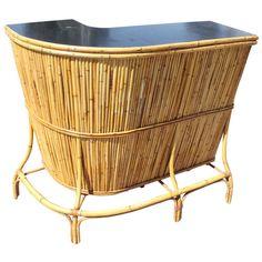Spanish Bamboo Bar with Formica Top Mid Century Bar Cabinet, Bamboo Bar, Tiki Decor, Dry Bars, Bar Furniture, 1980s, Wicker, Spanish, Backyard