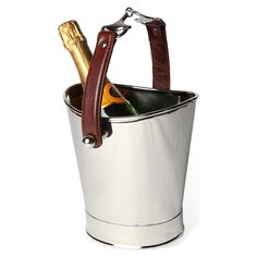 Culinary Concepts Horse Bit Single Wine Bottle Cooler With Cognac Leather Handle | ACHICA