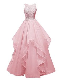Dresstells® Long Prom Dress Asymmetric Bridesmaid Dress Beaded Organza Gown
