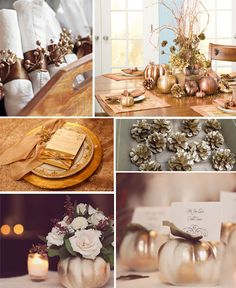 Spraying pumpkins, pinecones and acorns gold or silver make a beautiful setting.