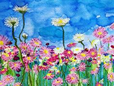 A mixed media of australian wildflower everlastings Australian Wildflowers, Wild Flowers, Mixed Media, Painting, Art, Art Background, Painting Art, Kunst, Mixed Media Art