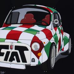 """Sculture Vestite di Stefano Bressani """"Let me Race-Huge old Fiat 500"""" 100x100x4 cm - 2011 Opera n° 140 All right reserved © (Private Collection)"""