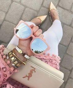 McKenna Wilson accessories:four bracelets,wallet,sunglasses Quay Sunglasses, Mirrored Sunglasses, Sunnies, Look Fashion, Fashion Outfits, Womens Fashion, Pink Make Up, Fashion Eye Glasses, Luxury Purses