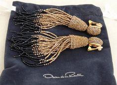 Oscar de la Renta Long Tassel Earrings with Box
