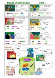 English worksheet: Muzzy in Gondoland Part 1 - 5 exercises - 2 pages - editable
