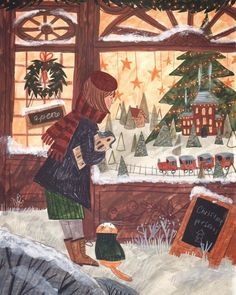 A cozy time on Behance Love Illustration, Christmas Illustration, Illustration Artists, Watercolor Illustration, Illustrations, Cozy Christmas, Vintage Christmas, Xmas, Christmas Drawing