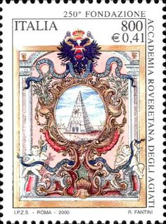 Accademia Roveretana degli Agiati.  Italian post stamp, circa 2000