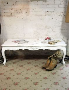 Painted Cottage Shabby White Romantic French Coffee Table CFT235