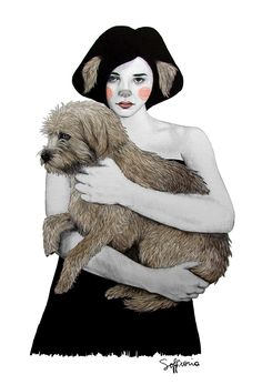 Sofia Bonati - Illustration - Rena (Girls with animals series) Sofia Bonati, Canvas Prints, Art Prints, Female Art, Art Pictures, Pet Birds, Art Drawings, Sketches, Collage