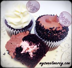 Gender reveal cupcakes with pink whipped filling. So YUMMY!     Filling:   1 cup heavy whipping cream -  2 Tbsp vanilla pudding mix - 2 Tbsp sugar - Food coloring of your choice - Whip until stiff but don't over-whip.