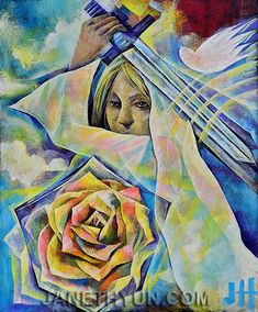 Warrior Bride with sword, Holy Spirit dove and rose, unique prophetic art painting.