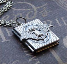 bat book locket necklace