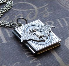 bat book locket necklace