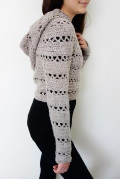Hooded Cropped Sweater crochet pattern available at LoveCrochet! Find this cute pattern and more crochet inspiration on the LoveCrochet website.