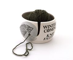 Game Of ThronesWinter Is Coming Knit Faster Yarn Bowl GOT Fan Art Gift For Knitting Crochet Grey And White