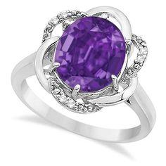 Allurez Purple Amethyst & Diamond Flower Cocktail Ring 14k White Gold... (38.535 RUB) ❤ liked on Polyvore featuring jewelry, rings, accessories, purple, cocktail rings, round diamond ring, diamond rings, 14k ring and diamond swirl ring