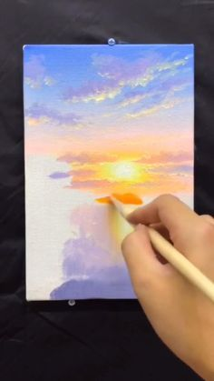 Small Canvas Paintings, Easy Canvas Art, Small Canvas Art, Diy Canvas, Canvas Painting Tutorials, Art Drawings Sketches Simple, Art Tutorials, Watercolor Art, Sunset Lake
