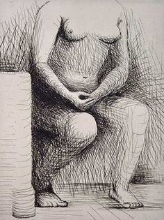 Henry Moore Seated Figure - Signed Etching from 1979 published for Henry Moore Foundation. We buy and sell Henry Moore etching prints & sculptures. Collage Drawing, Art Drawings, Figure Drawings, Henry Moore Drawings, Etching Prints, Tate Gallery, Pose, Found Art, Life Drawing