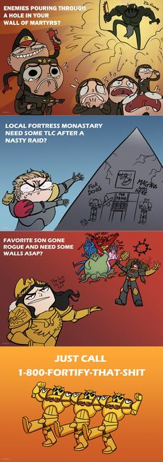 Call Fortify - this - shit now! :> This fun artwork was made by Nobylu Warhammer 40k Memes, Warhammer Art, Warhammer Fantasy, Warhammer 40000, Nerd Memes, Geek Humor, Funny Memes, Jokes, Imperial Fist